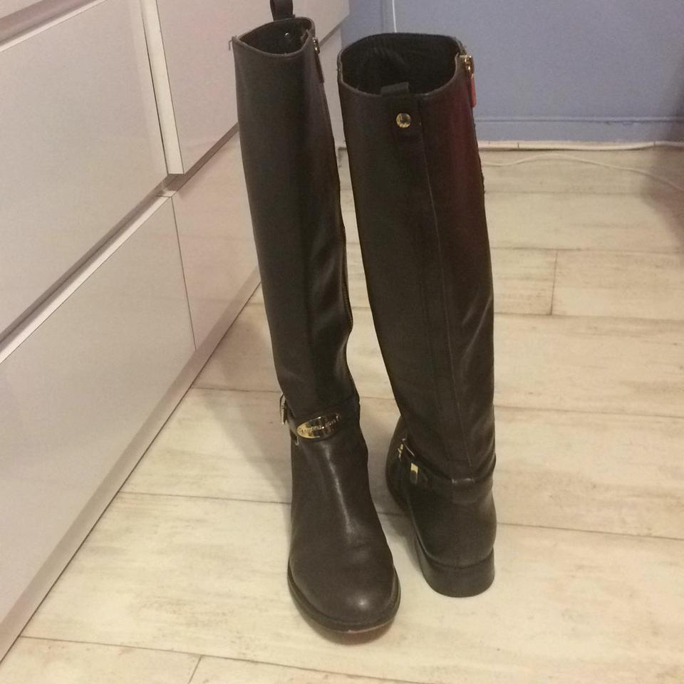 99f851597777 Michael Kors Chocolate Brown Arley Leather Knee High Riding Boots ...