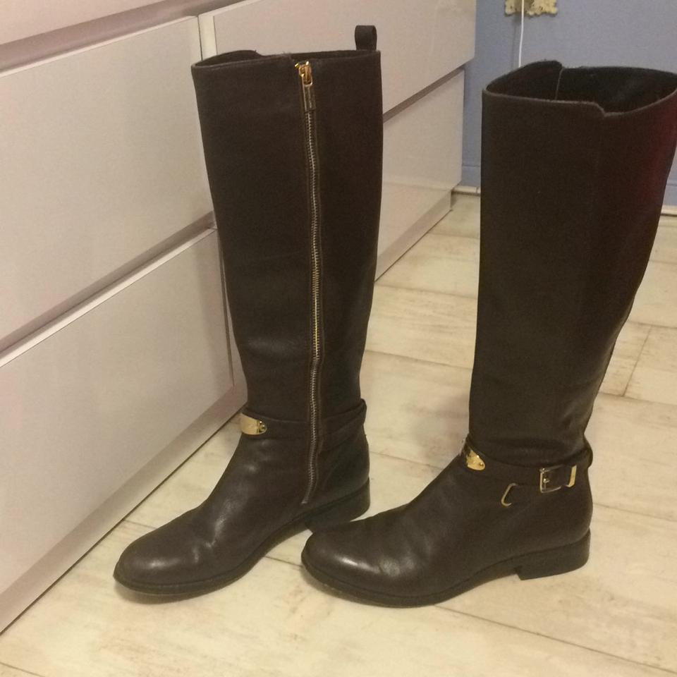 6d8929080309 Michael Kors Chocolate Brown Arley Leather Knee High Riding Boots Booties  Size US 7.5 Regular (M