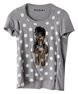 Marni Trapeze Polka Dot Cap Sleeve Illustrated Art T Shirt Gray