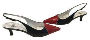 Ballin All Leather Slingback Italian Red and black Pumps