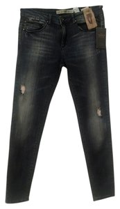 Zara Faux Leather Skinny Jeans-Medium Wash