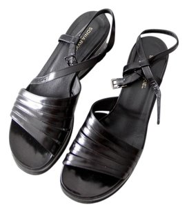 Sonia Rykiel Patent Leather Sandals Black Platforms