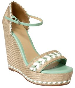 Gucci Espadrilles Sandals Natural / Green / White Wedges