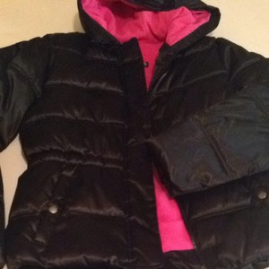 Faded Glory Black Pink Puffy Jacket Coat
