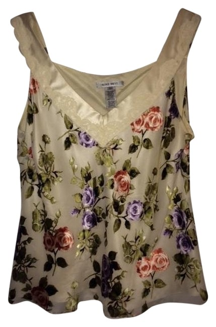 Item - Cream with Print Colored Raised Texture Floral Tank Top/Cami Size 16 (XL, Plus 0x)