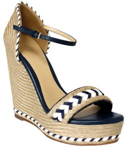 Gucci 370496 Espadrille Sandal Natural / Navy Blue / White Wedges