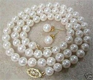 White Glass Pearl Necklace-earrings Sold Separately