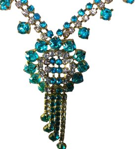 Turquoise blue Trifari Turq.Blue Rhinestone Necklace