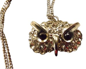 Rhinestone Owl Necklace Super Long Chain,goes great with Clothing!