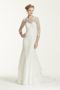 Melissa Sweet Off White/White Chantilly Lace/Organza Ms251089 Traditional Wedding Dress Size 4 (S)