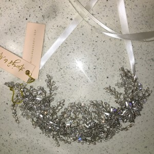 BHLDN Silver Twigs and Honey Swarovski Headband Hair Accessory