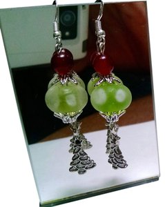 New Christmas Tree Earrings Handmade Dangle Green J447