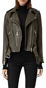 AllSaints Leather Dark Army Green Leather Jacket