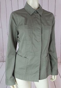 Talbots Blazer Lightweight Cotton Spandex Stretch Military Army Green Jacket