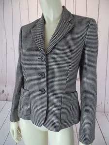 Ralph Lauren Blazer 4p Petite Houndstooth Wool Button Front Lined Chic Black, Tan Jacket