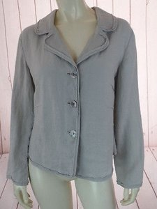 J. Jill Blazer Top Petite Flimsy Linen Darts Button Front Boho Chic Light Gray Jacket