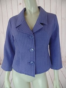 Carole Little Carole Little Blazer Jacket Silk Lavender Puff Quilted Button Front Shorty Hot