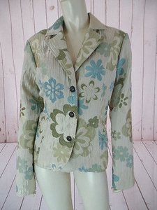 Erin London Erin London Blazer Poly Acrylic Stretch Floral Embossed Textured Boho Chic