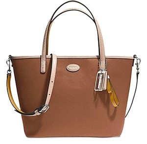 Coach Brown Leather Hardware Designer Medium New Tote in Saddle/Silver (Brown)