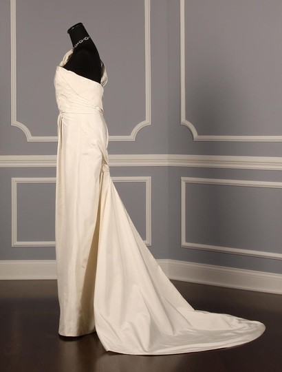 Douglas Hannant Diamond White Silk Moire Taffeta Sm96314 Formal Wedding Dress Size 6 (S)