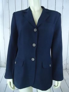 Ralph Lauren Ralph Lauren Blazer Navy Silk Linen Blend Button Front Pockets Lined Chic
