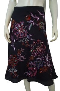 Anne Carson Linen Flared Floral Embroidery Sequins Lined Chic Skirt Black