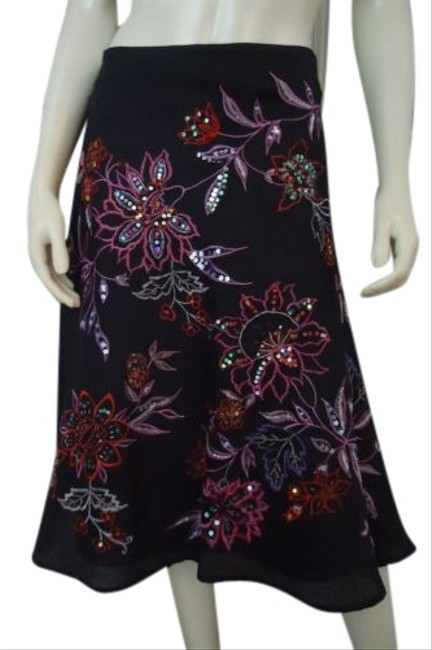 Item - Skirt Linen Flared Black Floral Embroidery Sequins Lined Chic