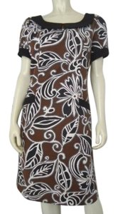 WD.NY Cotton Stretch 1960s Retro Style Sheath Botanical Leaf Lined Hot Dress