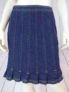Tommy Hilfiger Jean Spandex Pleated Flare Hem Skirt Dark Blue