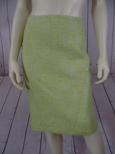 Tahari Boucle Acrylic Blend Short Pencil Retro Sexy Skirt Citron & Taupe