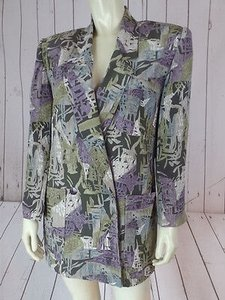 Ellen Tracy Linda Allard Blazer Petite Silk Abstract Dynasty Muted Gray, Taupe, Purple Jacket