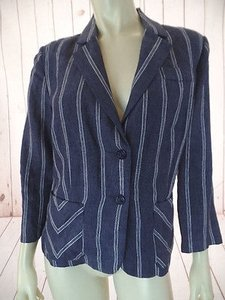 CAbi Cabi Blazer Navy White Striped Linen Button Front Unlined 34 Sleeve Chic