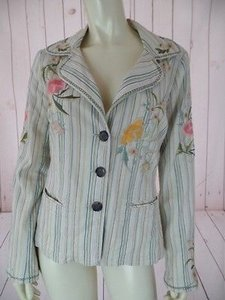Johnny Was Johnny Was Blazer Cotton Poly Elastane Stretch Blend Embroidery Striped Hippie