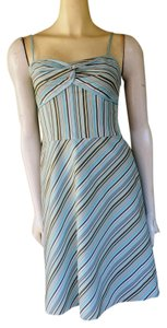 Ann Taylor LOFT short dress Aqua Striped Cotton Blend Petite on Tradesy
