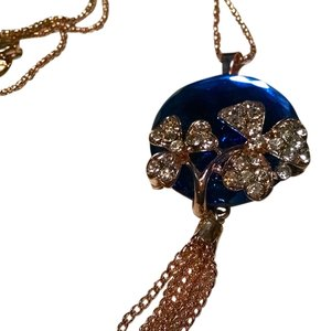 Betsey Johnson New Betsey Johnson Necklace Blue Crystal Gold Tassels J450