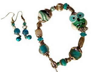Other New Handmade Lampwork Owl Bracelet Earrings Set Blue Teal White J451