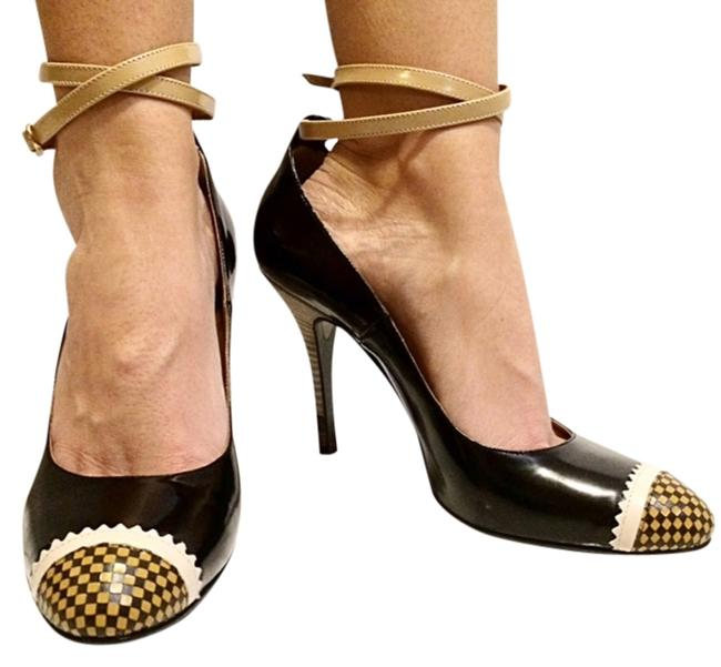 Item - Black/Yellow/Maroon/Tan Leather Stiletto Ankle Strap Checkered Pumps Size US 8.5 Regular (M, B)