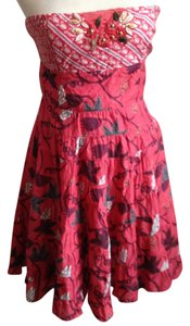 Free People short dress Red Summer Strapless Embroidery on Tradesy