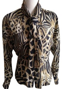 Escada Vintage Animal Scarf Tie Fitted Button Down Shirt print: black, tan, beige