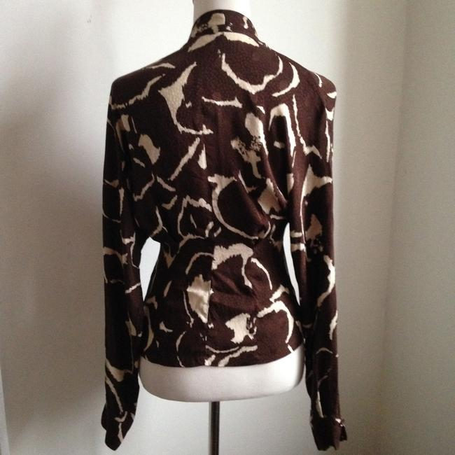 Max Mara Button Down Shirt print: dark brown & cream
