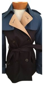Coach F86036 Short Trench Coat Navy Blue Jacket