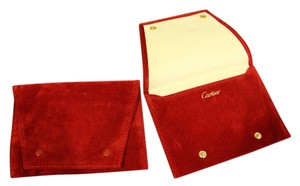 Cartier 2 New Authentic Red Suede Pouches