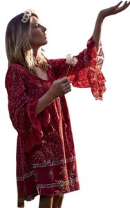 Free People short dress Red Bohemian Tassels Lace on Tradesy