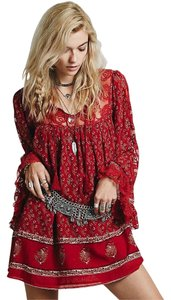 Free People short dress Red Bohemian Tassels Lace Festival Hippie on Tradesy
