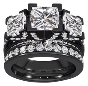 Other New Black Gold Filled & CZ 2pc Wedding Ring Set Sz 9
