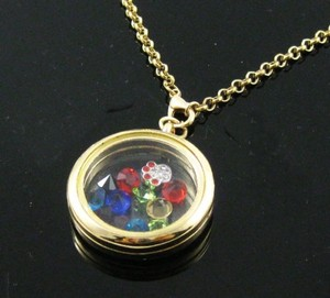 Gold Tone Floating Charm Locket Necklace Free Shipping