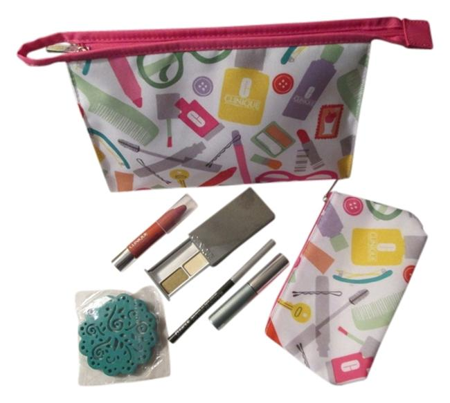 Item - White Pink Green Aqua Blue Multicolor Designs Include: 1 Large 1 Small and Makeup Cosmetic Bag