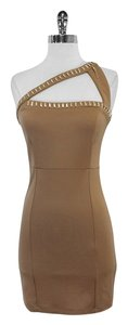 Roccobarocco short dress Tan One Shoulder Bodycon on Tradesy