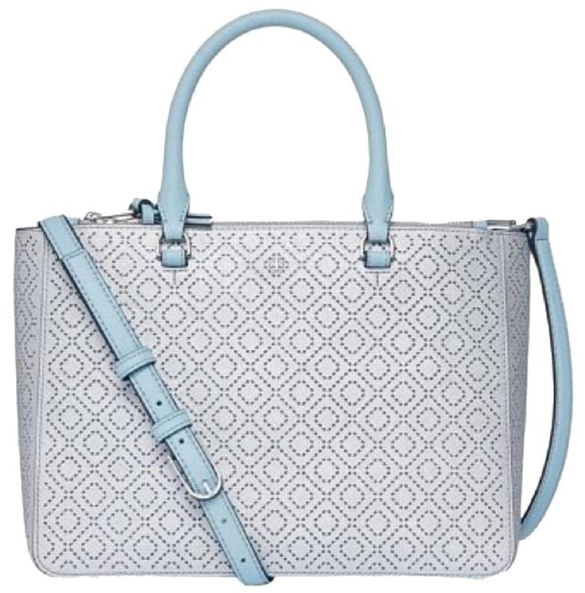 Tory Burch Robinson Perforated Small Multi Soft Silver Leather Tote Tory Burch Robinson Perforated Small Multi Soft Silver Leather Tote Image 1