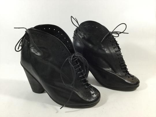 Marsèll Lace Up Armadillo Distressed Leather Black Boots